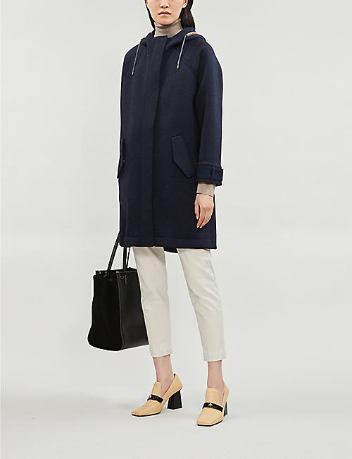 BRUNELLO CUCINELLI Bead-embellished wool-and-cotton blend coat