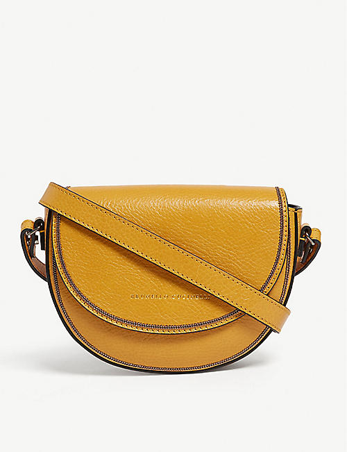 d4e3a9332db BRUNELLO CUCINELLI Pebbled leather half moon belt and shoulder bag