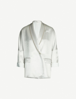 BRUNELLO CUCINELLI Beaded-trim satin jacket