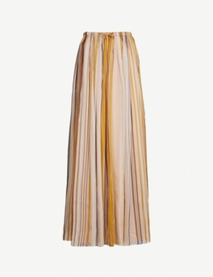 BRUNELLO CUCINELLI Striped silk maxi skirt