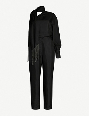 BRUNELLO CUCINELLI Scarf-detail silk-twill jumpsuit