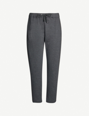 BRUNELLO CUCINELLI Bead-embellished stretch-cotton jogging bottoms
