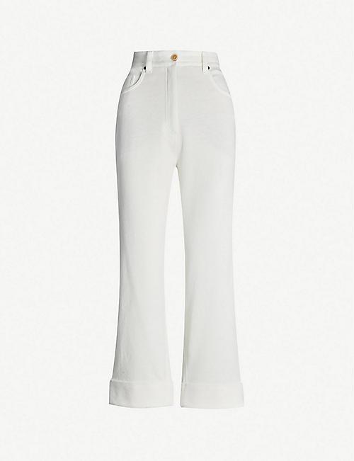 cb5635daab1a BRUNELLO CUCINELLI High-rise straight-leg linen cotton-blend trousers