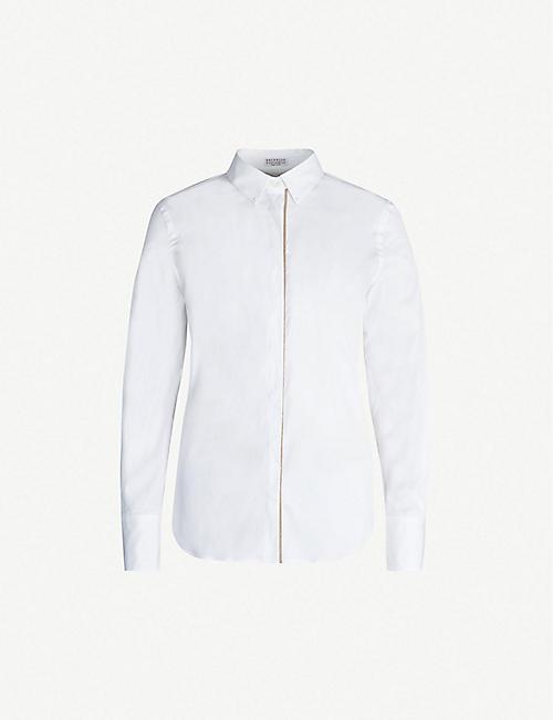 0efa9253858ff BRUNELLO CUCINELLI Beaded-trim long-sleeved cotton-blend shirt