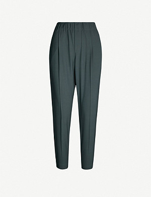 BRUNELLO CUCINELLI Beaded-trim tapered wool-blend trousers