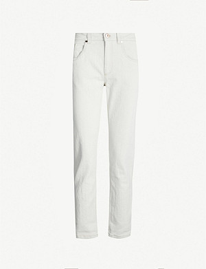 BRUNELLO CUCINELLI Branded-patch tapered high-rise jeans