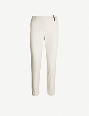 BRUNELLO CUCINELLI Tapered cropped cotton-blend trousers