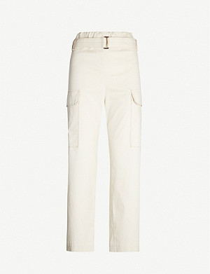 BRUNELLO CUCINELLI Belted cropped tapered high-rise cotton-blend trousers