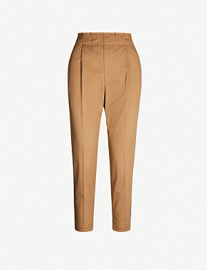 BRUNELLO CUCINELLI Cropped tapered high-rise cotton-blend trousers