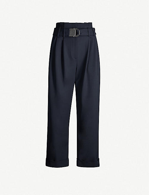 BRUNELLO CUCINELLI High-rise wool-blend trousers