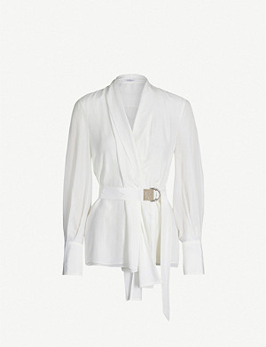 BRUNELLO CUCINELLI Shawl-collar silk shirt