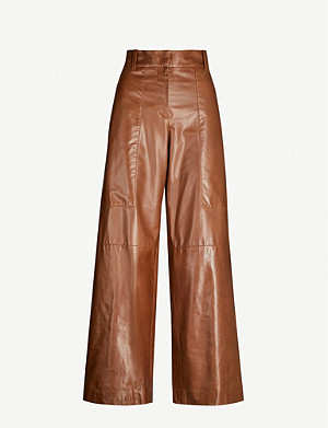 BRUNELLO CUCINELLI High-rise wide leather trousers