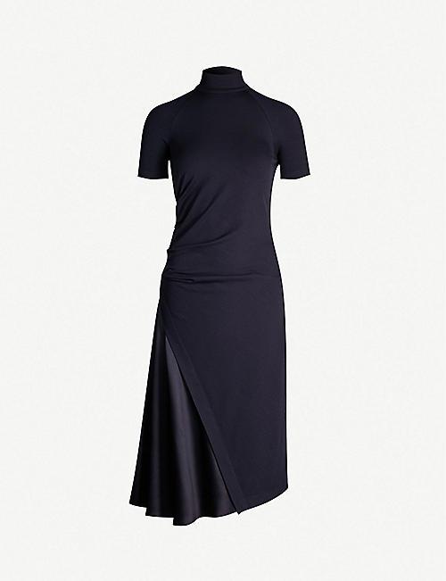 5e6a995dbbca9 BRUNELLO CUCINELLI High-neck satin-panelled stretch-wool midi dress
