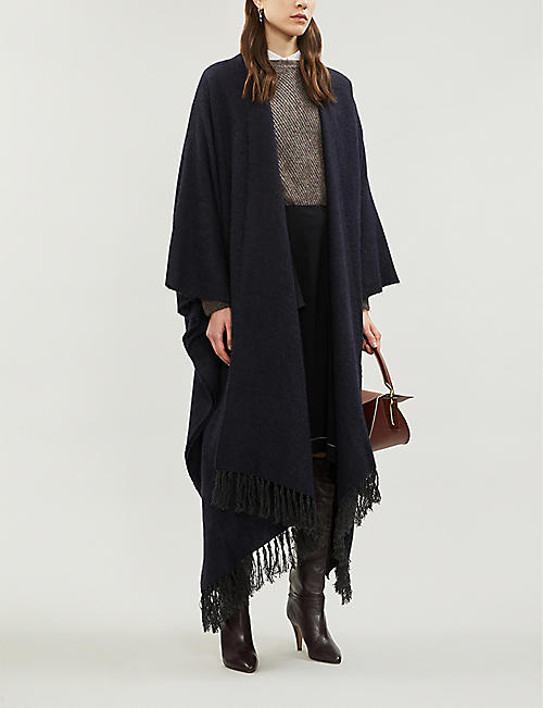 BRUNELLO CUCINELLI Fringed knitted poncho