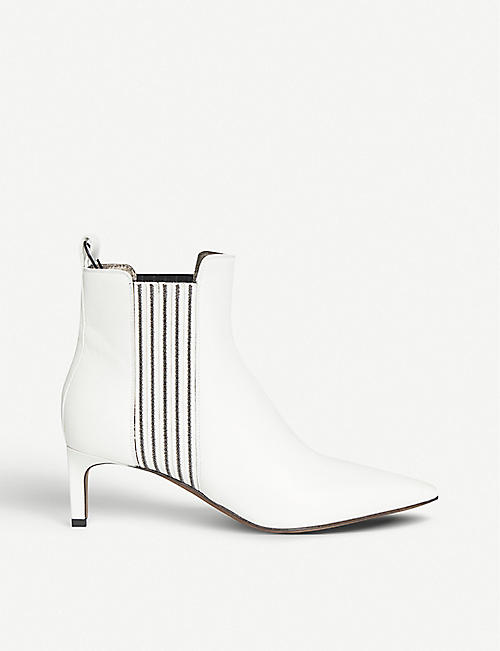 BRUNELLO CUCINELLI Embellished-side leather heeled ankle boots