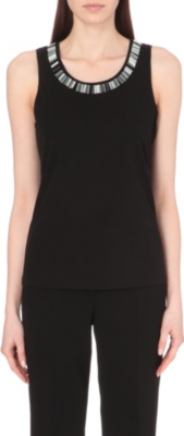 HUGO BOSS Jersey bead embellished top