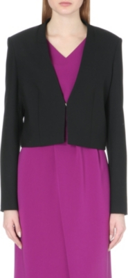 HUGO BOSS Stretch-crepe collarless jacket