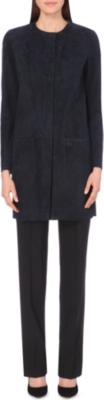 HUGO BOSS Solal collarless suede coat