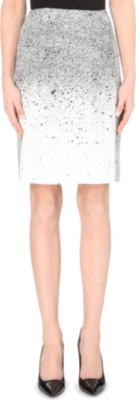 HUGO BOSS Vibrush splatter-print pencil skirt
