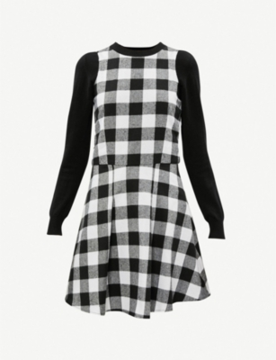 FIVECM Checked cotton-jersey dress