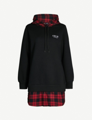 FIVECM Checked-underlay jersey hoody