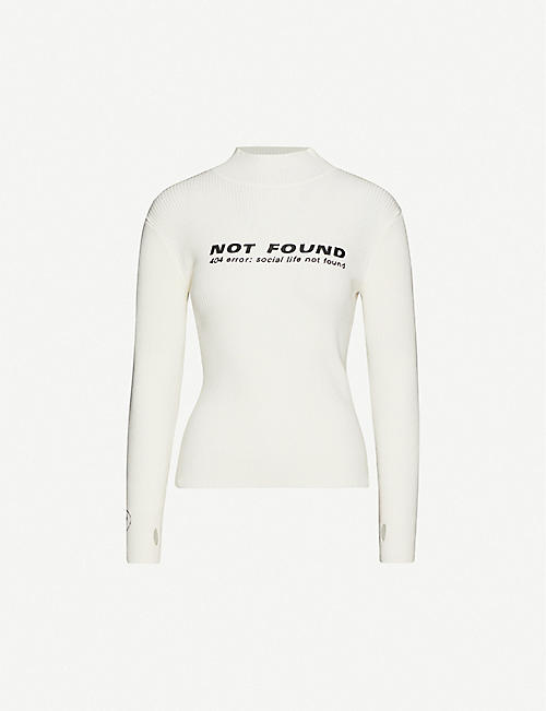 FIVECM Graphic-print high-neck knitted jumper