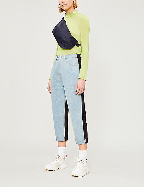 5CM Contrast-back high-rise cropped jeans