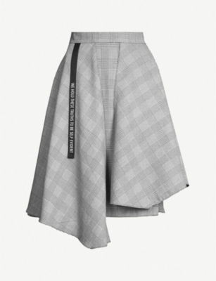 5CM Asymmetric Prince of Wales checked woven skirt