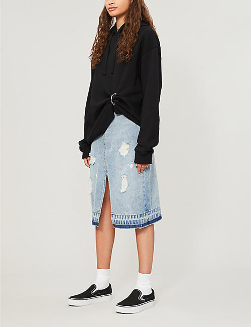 FIVECM Split-front denim midi skirt