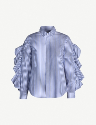 FIVECM Ruffle-trimmed striped cotton shirt