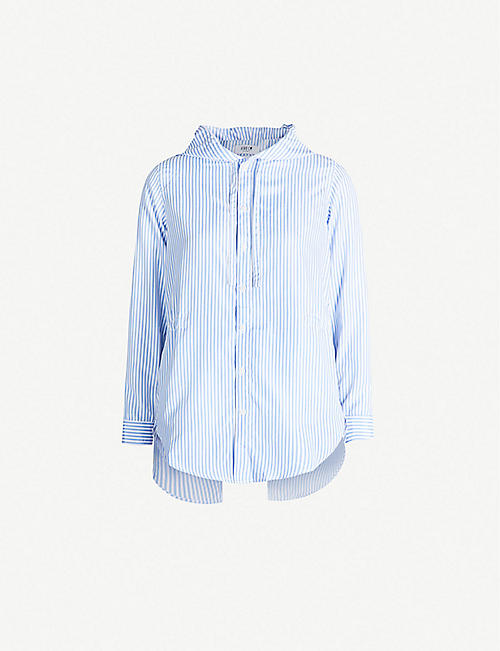 FIVECM Striped hooded crepe shirt