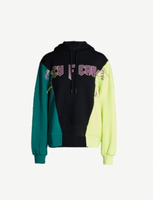 FIVECM Colour-blocked slogan-print cotton-jersey hoody