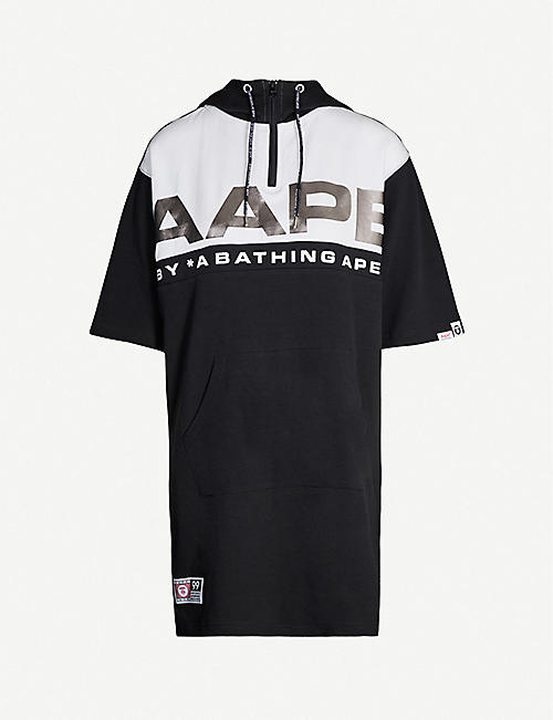 AAPE Metallic logo-print cotton-blend jersey dress