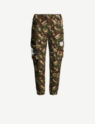 AAPE High-rise camouflage-print cotton tapered trousers