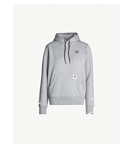 AAPE Logo-embroidered cotton-blend hoody (Grey 3762228b6bb2