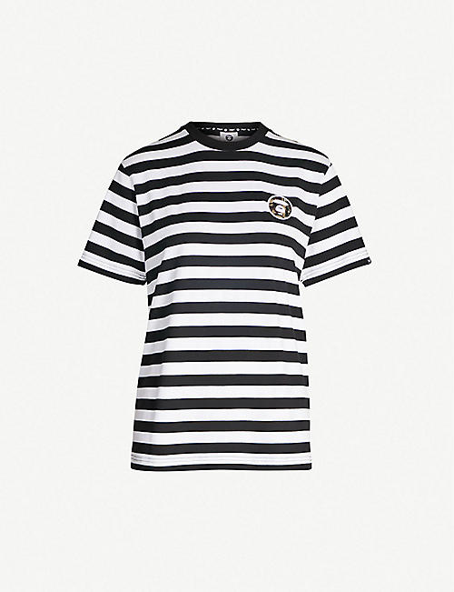 AAPE Logo-embroidered striped cotton-jersey T-shirt 95069eaa1b1c