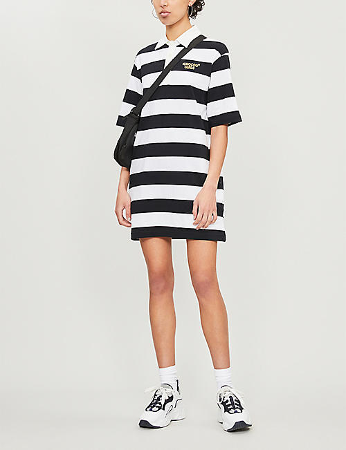 CHOCOOLATE Striped cotton-jersey T-shirt dress
