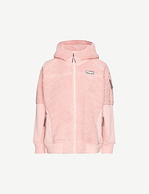 CHOCOOLATE Funnel-neck hooded fleece jacket