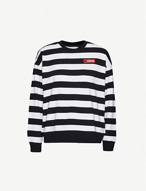 CHOCOOLATE Striped cotton-jersey T-shirt