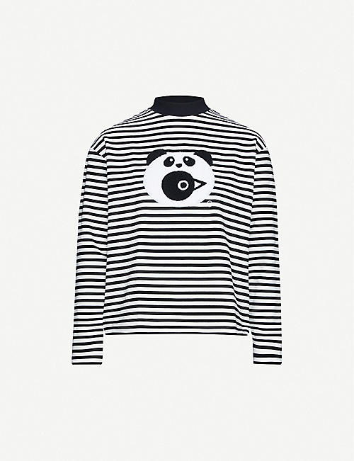 CHOCOOLATE Animal-applique striped stretch-jersey sweatshirt