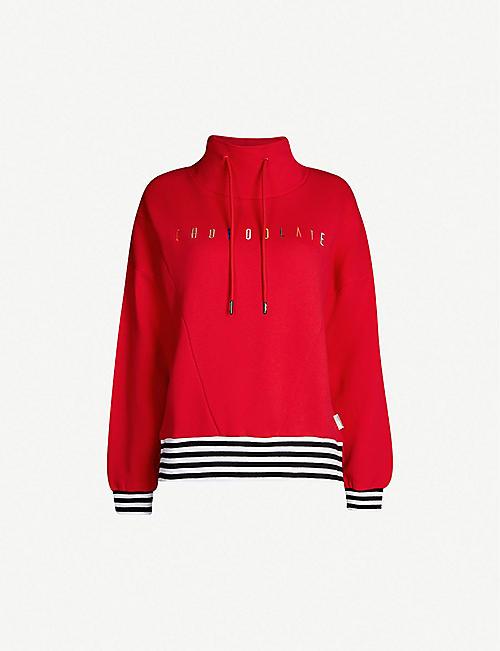 0214c3f0b73 CHOCOOLATE Logo-embroidered cotton-blend turtleneck sweatshirt