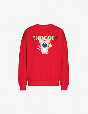CHOCOOLATE Brand-print cotton-blend jersey sweatshirt