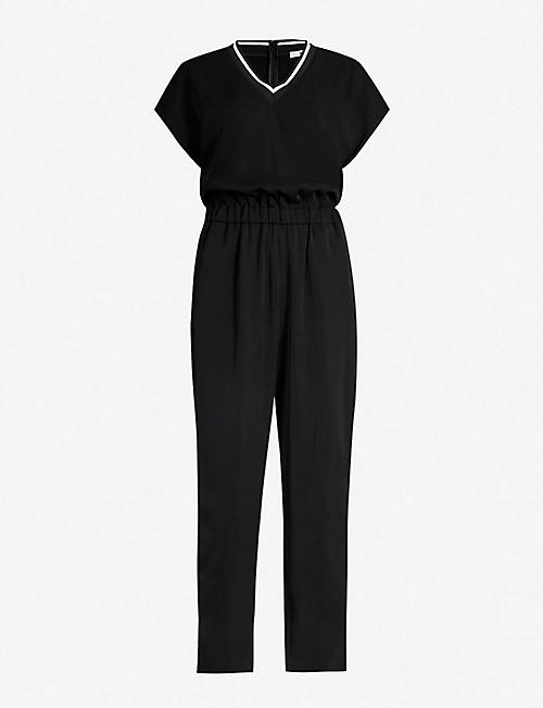 B+AB Striped-trim crepe jumpsuit