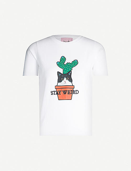 B+AB 'Stay weird' embroidered cotton-jersey T-shirt