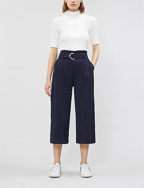 5CM Belted high-rise striped crepe wide-leg trousers