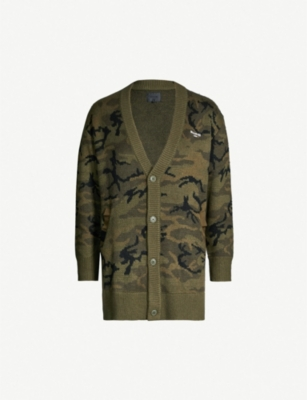 MUSIUM V-neck camouflage knitted cardigan