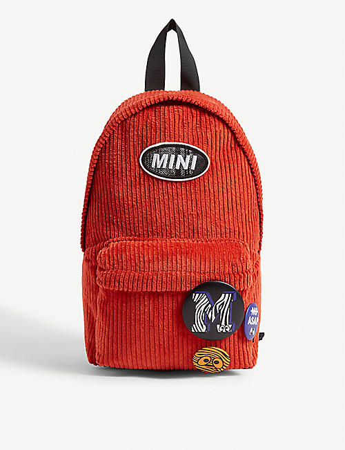 MINI CREAM Branded badges corduroy backpack