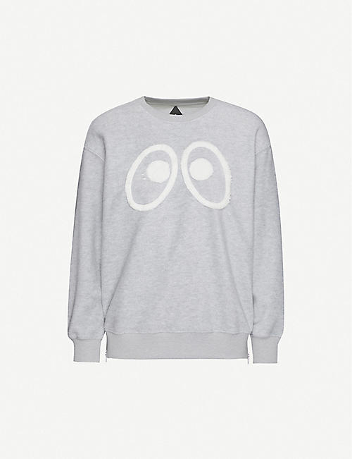 MINI CREAM Eyes-appliqué fleece sweatshirt