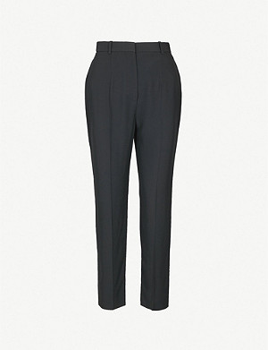 ALEXANDER MCQUEEN High-rise tapered crepe cropped trousers