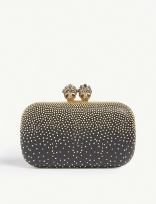 ALEXANDER MCQUEEN Queen and king embellished leather clutch